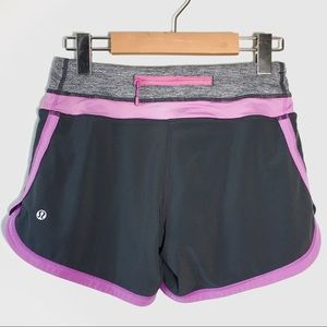 Lululemon Grey and Purple Running Shorts Size 2